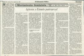 Movimiento feminista: iglesia y Estado patriarcal